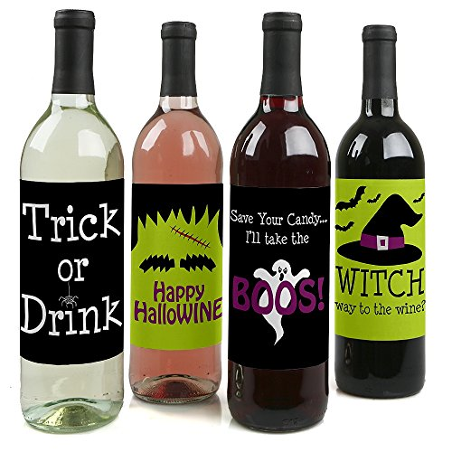 Trick or Treat - Halloween Party Decorations for Women and Men - Wine Bottle Label Stickers - Set of -