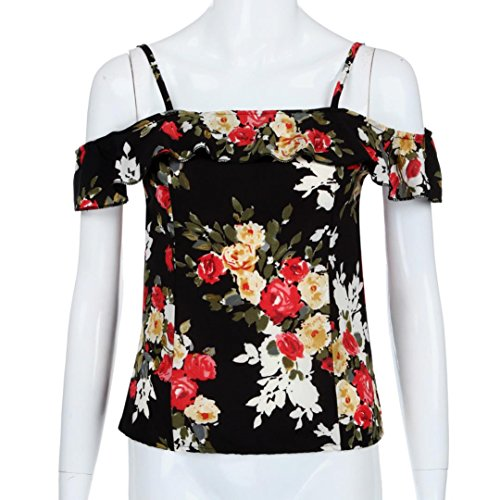 Femmes Cold Blouse Camis Shoulder Print Floral Tops T shirt Noir Ruffle Mode Strap OxwZdfOq