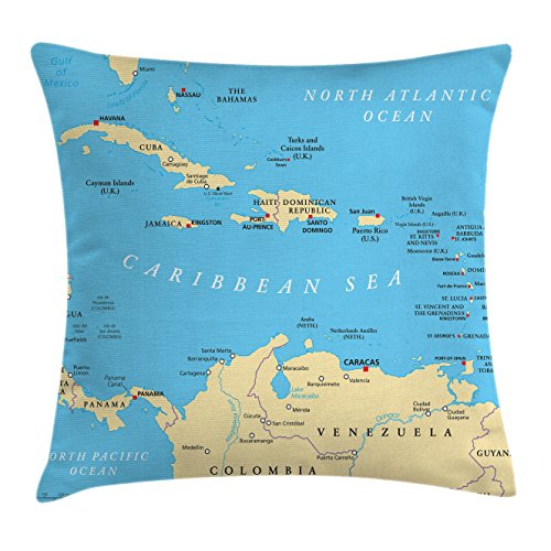 Ambesonne Wanderlust Throw Pillow Cushion Cover, Caribbean Political Map Capitals National Borders Important River Image, Decorative Square Accent Pillow Case, 16 X 16 Inches, Aqua Blue and (Caribbean Pillowcase Art)
