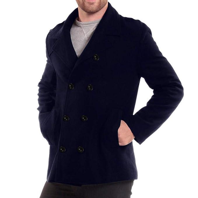 DOGZI Hombre Chaquetas, Hombre Sección Media y Larga Tallas Grandes Slim Fit Abrigo de Lana