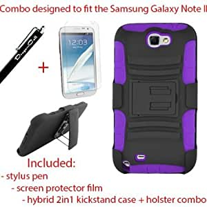 Viesrod DragonCell [Black/Purple] 2 in 1 PC Plastic + Silicone Skin Gel Hybrid Armor Case with Built in Kick Stand, Swivel...