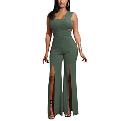 06366aaec775 Aro Lora Women s Sexy Outfit Sleeveless Strapless Crop Top + Slit Long Wide  Leg Pant Jumpsuit