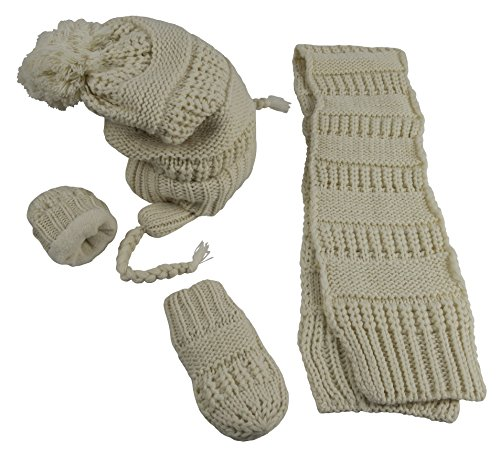 Amazon.com  N Ice Caps Little Girls and Infants Geo Design Cable Knit 3PC  Fleece Lined Set  Clothing e01d90482f7
