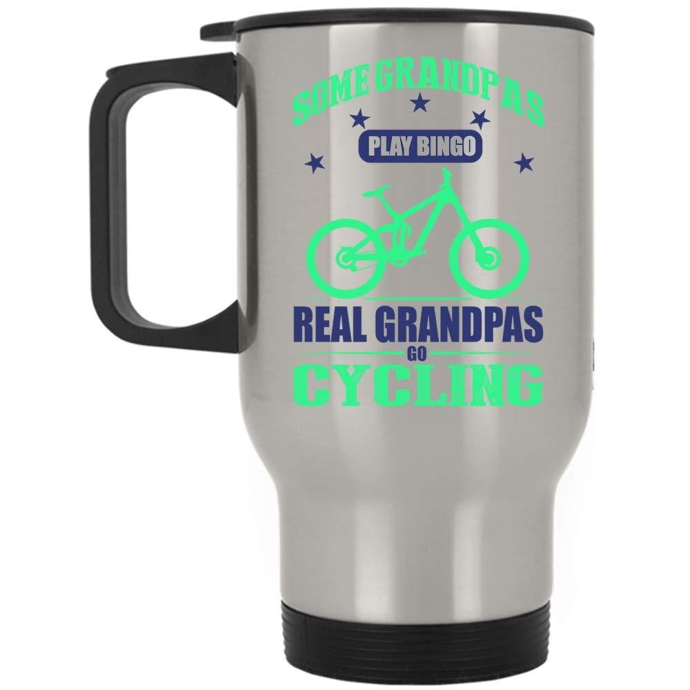 Go Cycling Mug, Cool Grandpas Travel Mug, Some Grandpas Play Bingo Real Grandpas Go Cycling Mug (Travel Mug - Silver) by Tiger-Key