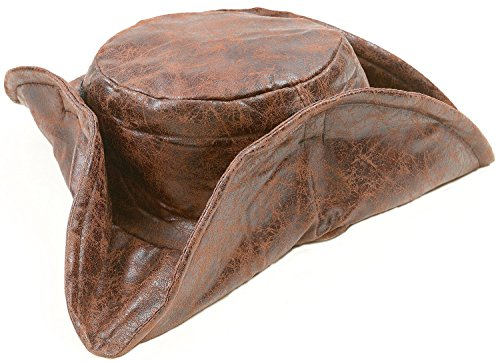 [Brown Leatherette Tri-fold Caribbean Pirate Hat, Jack] (Kid's Jack Sparrow Hat)
