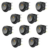 AutoEC 10pcs Car Round Rocker Toggle Switch LED Light On-Off Button