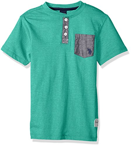 U.S. Polo Assn. Big Boys' Short Sleeve Solid Henley T-Shirt, Marbled Jersey Chambray Pocket Marled Island Jade, 14/16