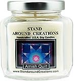 Premium 100% Soy Candle - 6 - oz. Hex Jar- Amish Quilt - Spicy, sweet w/Vanilla w/ cinnamon, clove, allspice w/ sugar.