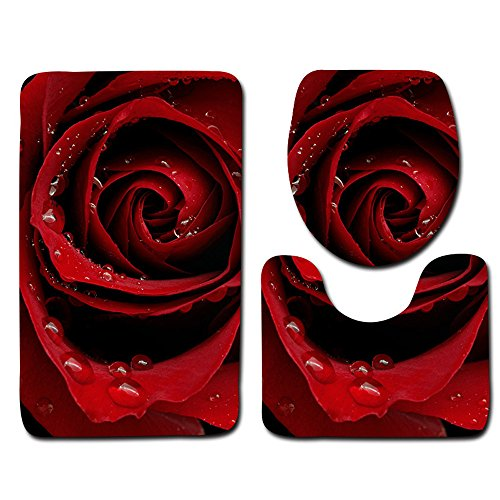- pengchengxinmiao 3pcs Toilet Seat Cover Foot Pad Bath Rug Mat Valentines Day Pattern Flower Romantic Non Slip Washable Bathroom Shower Set Decor Cushion (Multicolour, E)