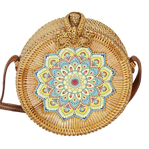 AllBombuu Printing Round Rattan Crossbody Bag,Straw Boho Bag for Women Purse Handmade Clutch Woven Shoulder Bag (Colorful), 7.8 IN