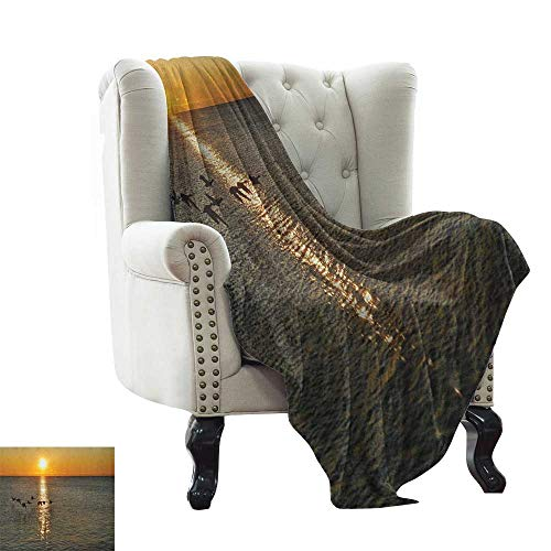 Anyangeight Birds, Throw Blanket, Silhouettes of Canadian Geese Flying Over a Lake at Sunrise Romantic Scenery, Couch Bed Blankets Mini Size, (W60 x L62 Inch Orange and Gray