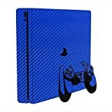 Sony PlayStation 4 Slim Skin (PS4S) - NEW - 3D CARBON FIBER CANDY BLUE - Air Release vinyl decal console mod kit by System Skins