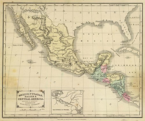 1864 School Atlas | Mexico, Yucatan, Balize & Central America. Designed to accompany Cornell's High school geography. | Antique Vintage Map Reprint - Cornell 1864 Antique Map