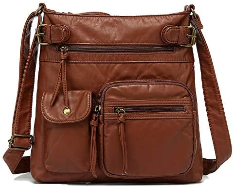Scarleton Multi Pocket Crossbody Bag for Women, Shoulder Bag, Ultra Soft Washed Vegan Leather Shoulder Purse, H1833