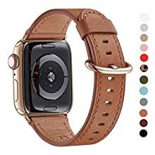 WFEAGL Compatible iWatch Band 40mm 38mm, Top Grain Leather Band with Gold Adapter(The Same as Series 5/4 with Gold Stainless Steel Case in Color) for iWatch Series 5/4/3/2/1