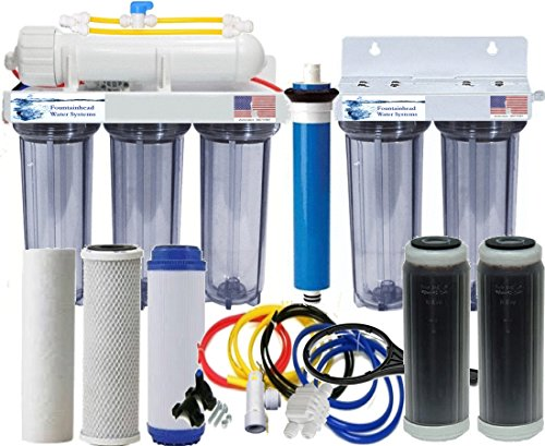 RO/DI Reverse Osmosis Aquarium/Reef System Dual DI All Clear Manual Flush 75 GPD by Fountainhead Water Systems