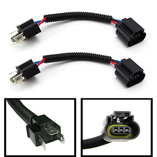 (2) iJDMTOY H4 9003 To H13 9008 Pigtail Wire Wiring Harness Adapters For H4/H13 Headlight Conversion Retrofit