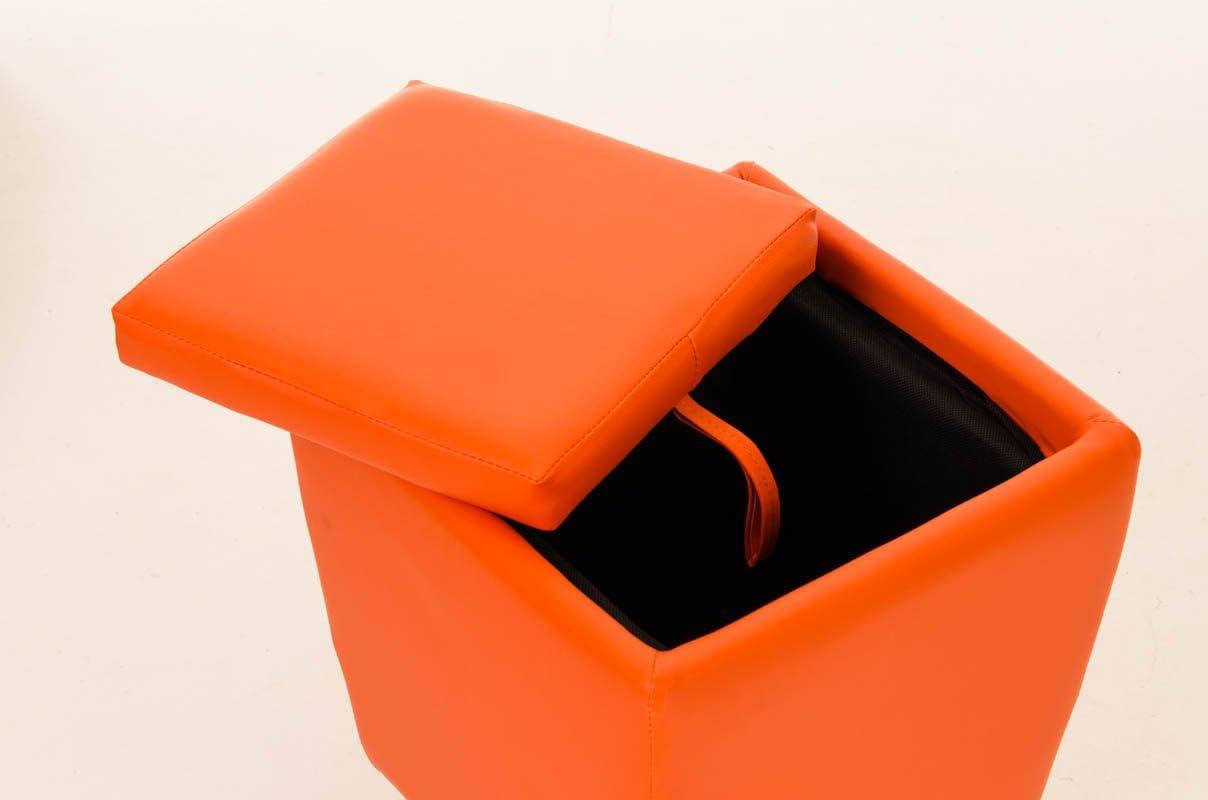 45 CM Arancione Alt CLP Sgabello Roxy Vano Portaoggetti In Similpelle I Pouf Contenitore Con Manico I Sgabello Basso Imbottito Divano 36x36 CM