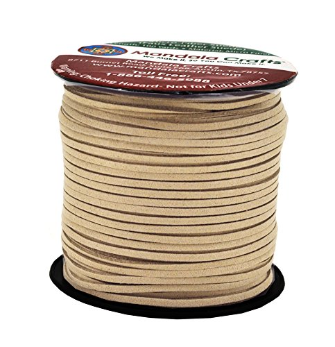 Tan Velvet Cord - Mandala Crafts 100 Yards 2.65mm Wide Jewelry Making Flat Micro Fiber Lace Faux Suede Leather Cord (Tan)