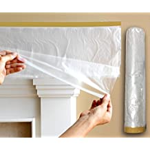 """3/4"""" Painter's Masking Tape with Pre-Taped, Hi-Temp Drop Cloth - 95"""" Wide x 82FT Long"""