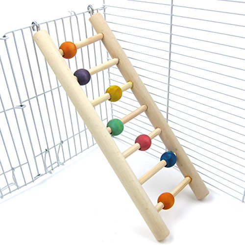 Alfie Pet by Petoga Couture - Quinlan Hanging Wooden Ladder Toy for Birds - Size: Medium