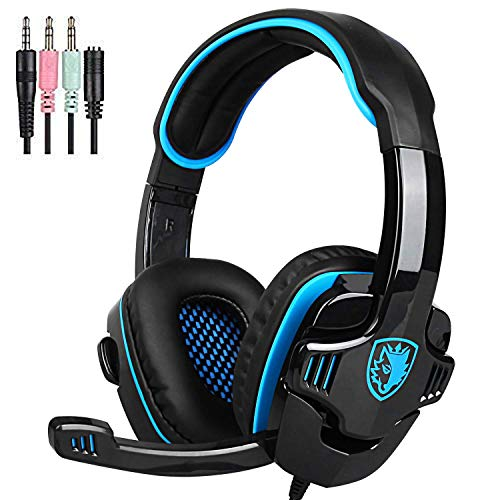 SADES SA708GT Version Stereo Over Ear Wired 3.5mm Gaming Headset Headphone with Microphone for Laptop/PC/Mac/PS4/Ipad/Ipod/Phones (Blue Black)