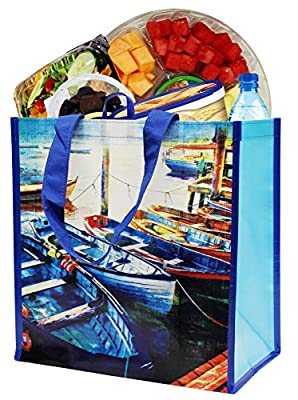 Earthwise Reusable Grocery Bag Shopping Tote Summer Boats Print ( 4 Pack)