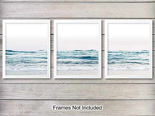 Ocean Waves Unframed Wall Art Print - Set of Three - Great Gift for Surfers and Beach Lovers - Perfect for Beach House - Cool Home Decor - Ready to Frame (8X10) Photo