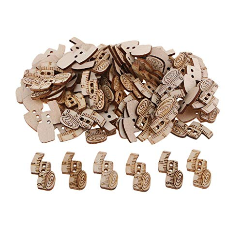 (100Pcs 2-Holes Wooden Multiple Pattern Button Fit for Sewing Crafts Supplies | Color - Ruler)