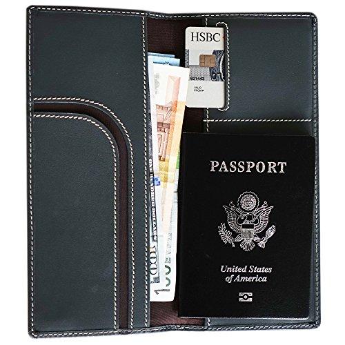 Pacer Go Slim Long Travel Wallet Passport Holder Genuine Leather RFID Blocking