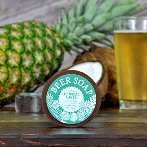 Beer Soap (Tropical Lager) - All Natural + Made in USA - Actually Smells Good! Perfect Gift For Beer (Brewery Lager)