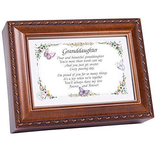 Cottage Garden Granddaughter Woodgrain Music Box Plays Light Up My Life