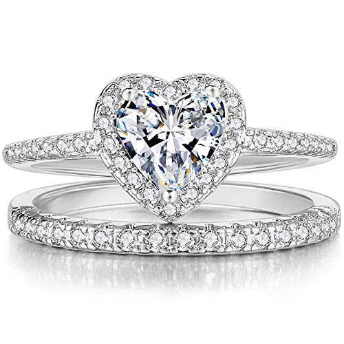 Jude Jewelers Rhodium Plated Heart Shaped Engagement Eternity Bridal Anniversary Promise Wedding Band Ring Set (Silver, 8) -