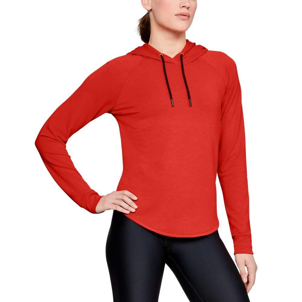 Under Armour Women's Featherweight Fleece Oversize Hoodie, Radio Red (890)/Black, Small
