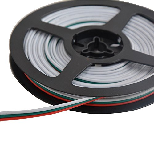 Mokungit 16.4ft/328ft 3Pin 18AWG LED Extension Cable 3Pin Red Green White Wire Antioxidant Tin Plated Copper Wire For WS2812B WS2812 WS2811 LED Pixel Module Light (16.4ft)