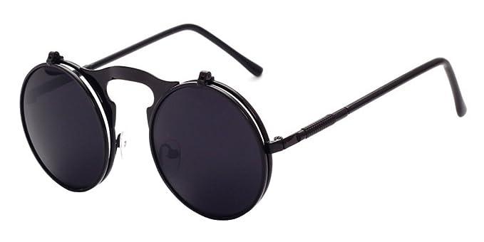 352dc3935d9 XFentech Metal Retro Steampunk Style Circle Sunglasses Flip up Round Lens  for Men   Women Black