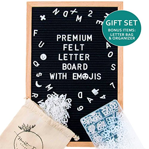Large Heart Box - Felt Letter Board Set w/ EMOJIs, Black (12x18 inches) INCLUDES: 650+ Letters/Numbers/Symbols/Emojis, Wooden Oak Frame, Wall Hanger + FREE ORGANIZING CASE & LARGE LETTER BAG By Heart Felt Creations