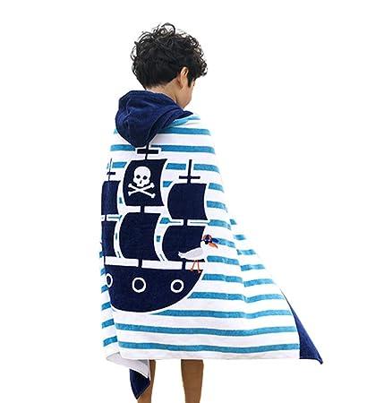Repuhand Niños 100% algodón Playa Toalla con Capucha Albornoz Infantil Poncho Toalla con Capucha para