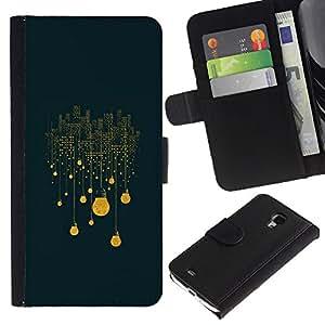 A-type (Winter Night City Yellow Significado) Colorida Impresión Funda Cuero Monedero Caja Bolsa Cubierta Caja Piel Card Slots Para Samsung Galaxy S4 Mini i9190 (NOT S4)