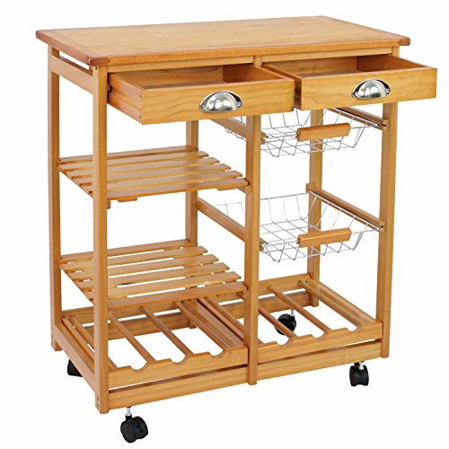 Scratch Free Heavy Duty Pine Wood Kitchen Side Trolley Cart for Your Lacking Space Organization | Food Preparation Kitchen Tableware Other Small Appliances | Easy Guide Lock Spinner | Hold Large Items