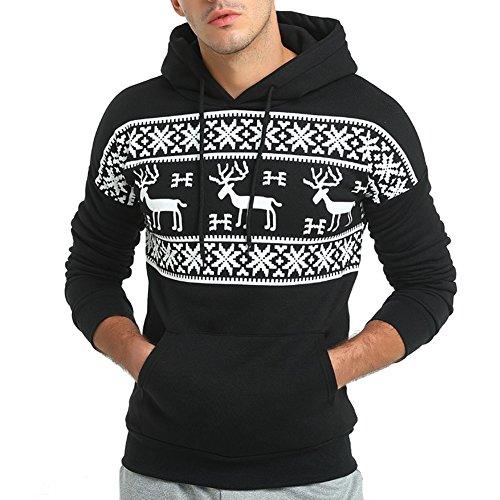 LETSQK Men's Christmas Pullover Hoodie Adult Ugly Reindeer Hooded Sweatshirt Black L