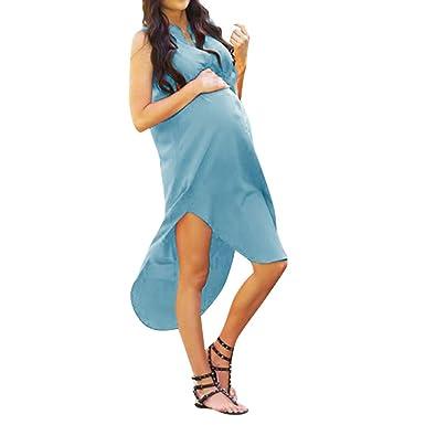 Vestido Premamá, ZARLLE Vestido sin Mangas de Maternidad Irregular Elegante Embarazada de Mujeres sólido: Amazon.es: Ropa y accesorios