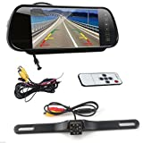 7 Inch 16:9 TFT High Resolution LCD Widescreen Rearview mirror monitor & Waterproof night vision 170 Angle 8 LED Backup Camera Vehicles parking system (7 inch+ 8 LED Cam)