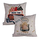 Queenie® - 2 Pcs Movie & Music Theme Decorative Pillow Cases Throw Cushion Covers 45 cm x 45 cm 18 x 18 Inch (Movie Time : Bundle Set D of 2)
