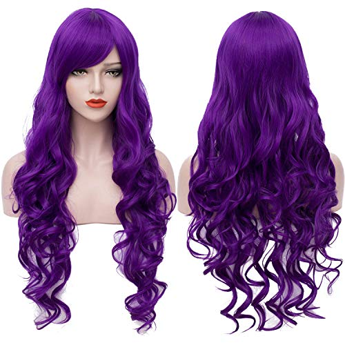 Extra Long Purple Wigs Cosplay Party Wig Spiral Curly Synthetic Hair Wigs for Women 32 Inches BU144PR]()