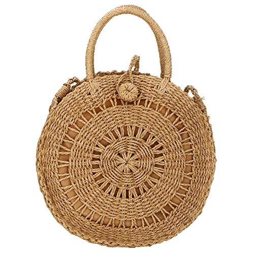 EROUGE Natural Chic Straw Bag Hand Woven Round Handle Handbags Retro Summer Beach Bag Beach Bag (Circle Brown)