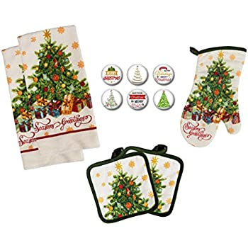 Farmhouse Daisy Designs Christmas Kitchen Decor Towel Set with Pot Holders Oven Mitt and Set of 6 Christmas Tree Refrigerator Magnets Set - (Christmas Tree)