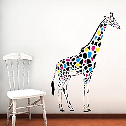 Giraffe Wall Decals Full Color Safari Decal Colorful African Safari Animals  Africa Kids Children Nursery Baby
