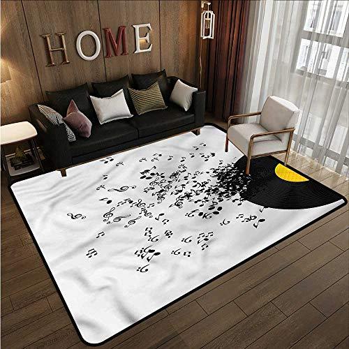 - Large Area Rug Music Flying Notes Album Dance Children Crawling Bedroom Rug 4'11