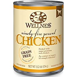 Wellness 95% Chicken Natural Wet Grain Free Canned Dog Food, 13.2-Ounce Can